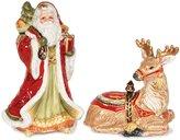 Fitz & Floyd Damask Holiday Santa & Reindeer Salt & Pepper Shaker Set
