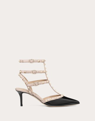 Valentino Rockstud Caged Pump 65mm Women Black/poudre Leather 100% 34.5