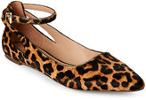 Franco Sarto Leopard Calf Hair Pointed Toe Flats