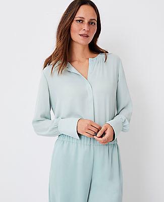 Ann Taylor Petite Shirred Neck Blouse