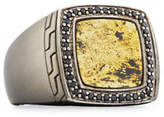 John Hardy Men's Batu Classic Chain Silver Signet Ring with Black Sapphires, Size 10