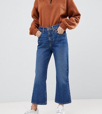 ASOS DESIGN Petite Egerton rigid cropped flare jeans in dark vintage wash