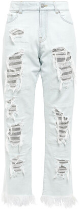 Versus By Versace Cropped Chainmail-embellished Distressed High-rise Straight-leg Jeans