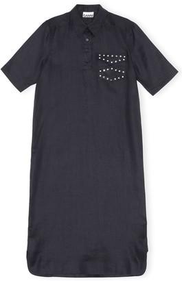 Ganni Light Linen Stud Pocket Dress in Phantom