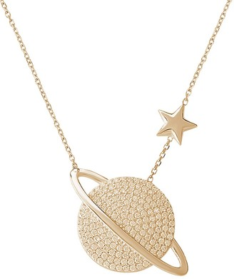 GABIRIELLE JEWELRY Planet Pave Crystal Pendant Necklace