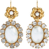Thumbnail for your product : Elizabeth Cole 24-karat Gold-plated Resin And Crystal Earrings