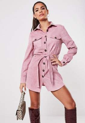 Missguided Petite Pink Cord Tie Waist Dress