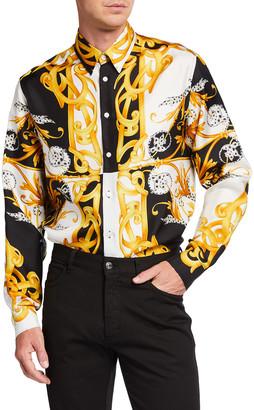 Versace Men's Baroque Silk Sport Shirt