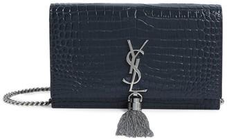 Saint Laurent Small Croc-Embossed Kate Monogram Shoulder Bag