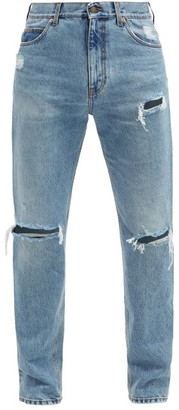 Gucci Ripped Straight-leg Jeans - Light Blue