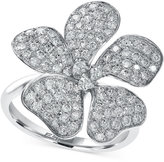 Effy Diamond Flower Ring in 14k White Gold (1-1/10 ct. t.w.)