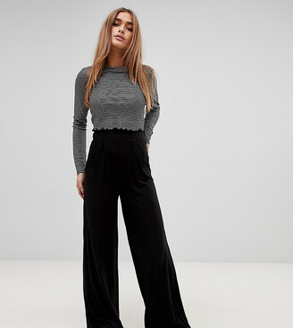 Asos DESIGN Petite wide leg trousers with deep waistband-Black