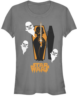 Fifth Sun Star Wars Women Vader Coffin and Trooper Ghosts Short Sleeve Tee Shirt