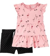 Carter's Child Of Mine By Child of Mine Baby Toddler Girls Flamingo Tiered Ruffle Tunic & Shorts, 2pc Outfit Set