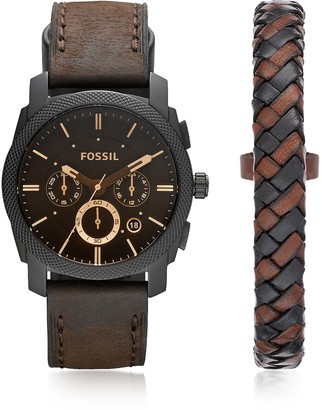 Fossil Machine Chronograph Dark Brown Leather Men's Watch and Bracelet Box Set