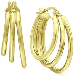 "Giani Bernini Medium Triple Hoop Earrings in 18k Gold-Plated Sterling Silver, 1.18"", Created For Macy's"