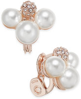 Charter Club Rose Gold-Tone Imitation Pearl Cluster Clip Earrings, Only at Macy's