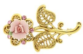 2028 Gold-Tone Pink Crystal and Porcelain Rose Brooch