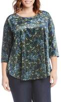 Karen Kane Plus Size Women's Floral Velvet Top