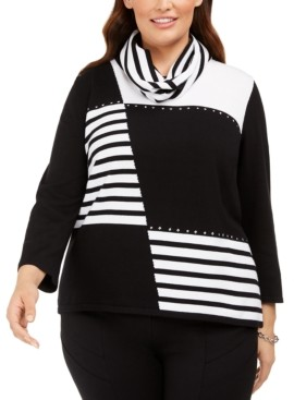 Alfred Dunner Plus Size Well Red Patch Stripe Sweater with Scarf