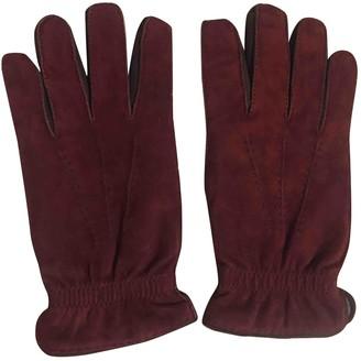 Brunello Cucinelli Burgundy Suede Gloves