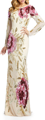 Mac Duggal Floral Sequin Long-Sleeve Column Gown