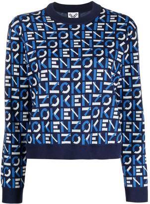 Kenzo Logo Pattern Crew-Neck Pullover