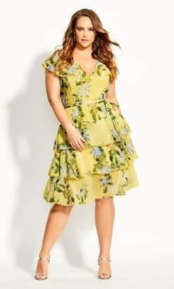 City Chic Sweet Garden Dress - buttercup