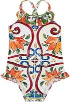 Dolce & Gabbana Kids' Maiolica-Print One-Piece Swimsuit