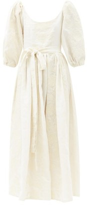 Marta Ferri - Floral-embroidered Linen-blend Dress - Cream