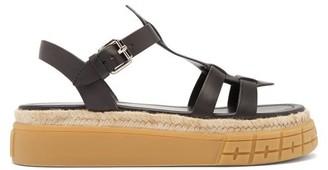 Prada Tyre-sole Leather Sandals - Black