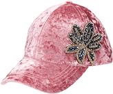 David & Young Mauve Floral Embroidered Velvet Baseball Cap