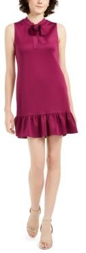 Betsey Johnson Petite Tie-Neck Flounce-Hem Dress