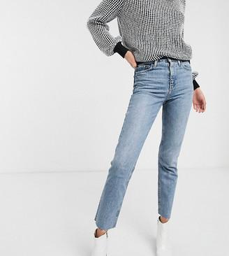 Topshop Tall straight leg jeans in bleach wash-White
