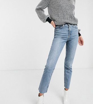 Topshop Tall straight leg jeans in bleach wash