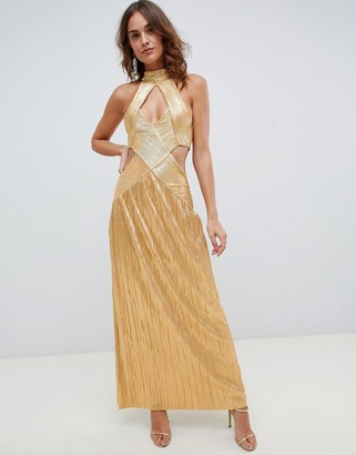 Asos Design DESIGN metallic plisse cut out maxi dress