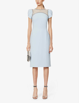 Jenny Packham Marlee crystal-embellished crepe midi dress