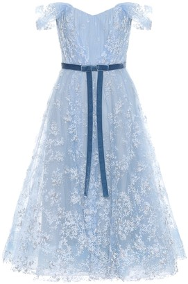 Marchesa Off-the-shoulder tulle gown