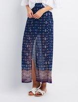 Charlotte Russe Border Print Slit Maxi Skirt