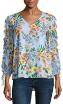 BELLE + SKY Ruched Sleeve Top