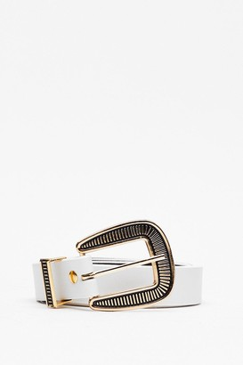 Nasty Gal Womens Oh This Ain't Over-sized Buckle Belt - White