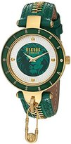 Versus By Versace Women's 'KEY BISCAYNE II' Quartz Stainless Steel and Leather Casual Watch, Color:Green (Model: SCK100016)