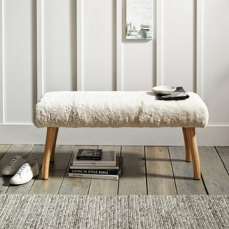 The White Company Curly Sheepskin Bench, Ivory, One Size