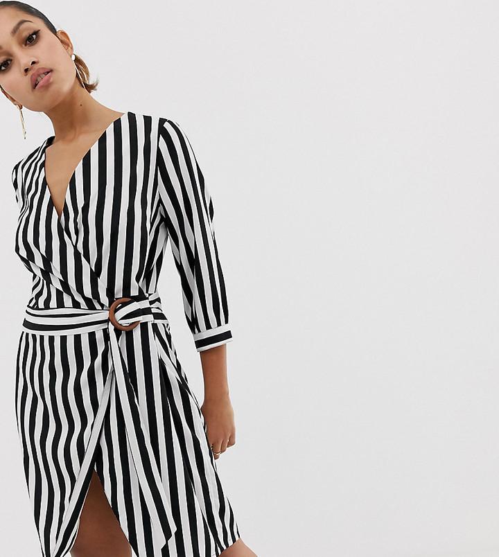 Vero Moda Petite stripe wrap dress