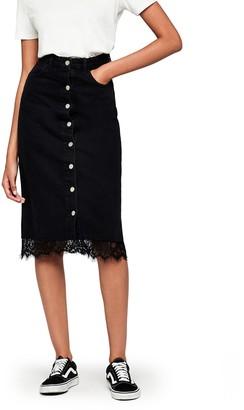 Find. Amazon Brand Women's Button Front Lace Trim Denim Skirt