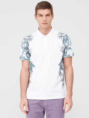 Very Man Floral Side Printed Polo Shirt - White