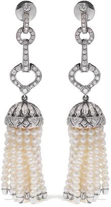 Yoko London 18kt white gold Tassel freshwater pearl and diamond earrings