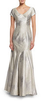Theia Cap-Sleeve Sateen Mermaid Gown, Oyster