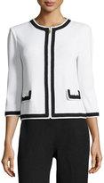 St. John Contrast-Trim Zip-Front Jacket, White/Black