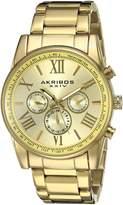 Akribos XXIV Men's AK904YG Round Radiant Sunburst Dial Two Time Zone Quartz Bracelet Watch